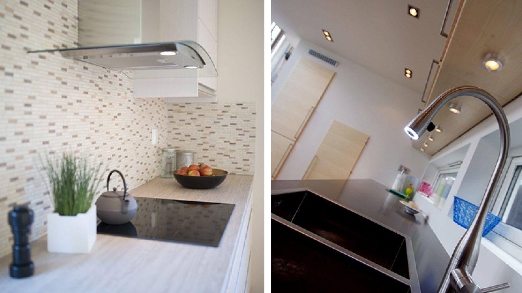 To bilder av kjøkken. Ett med fokus på benkplate og steketopp, det andre er skrått og av servant