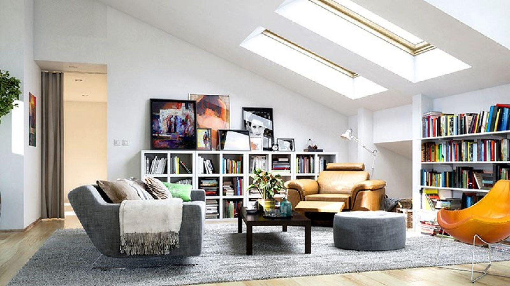 Stue med takvinduer