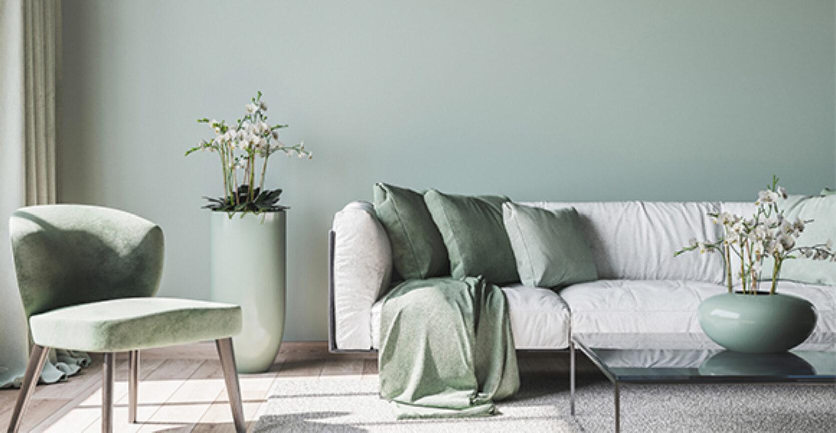 Stue i dus grønn farge, moderne interiør