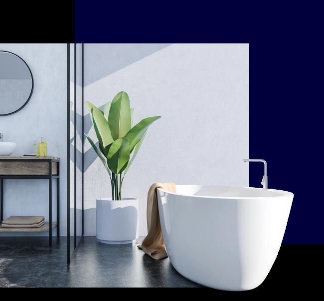 Moderne baderom med badekar og grønn plante