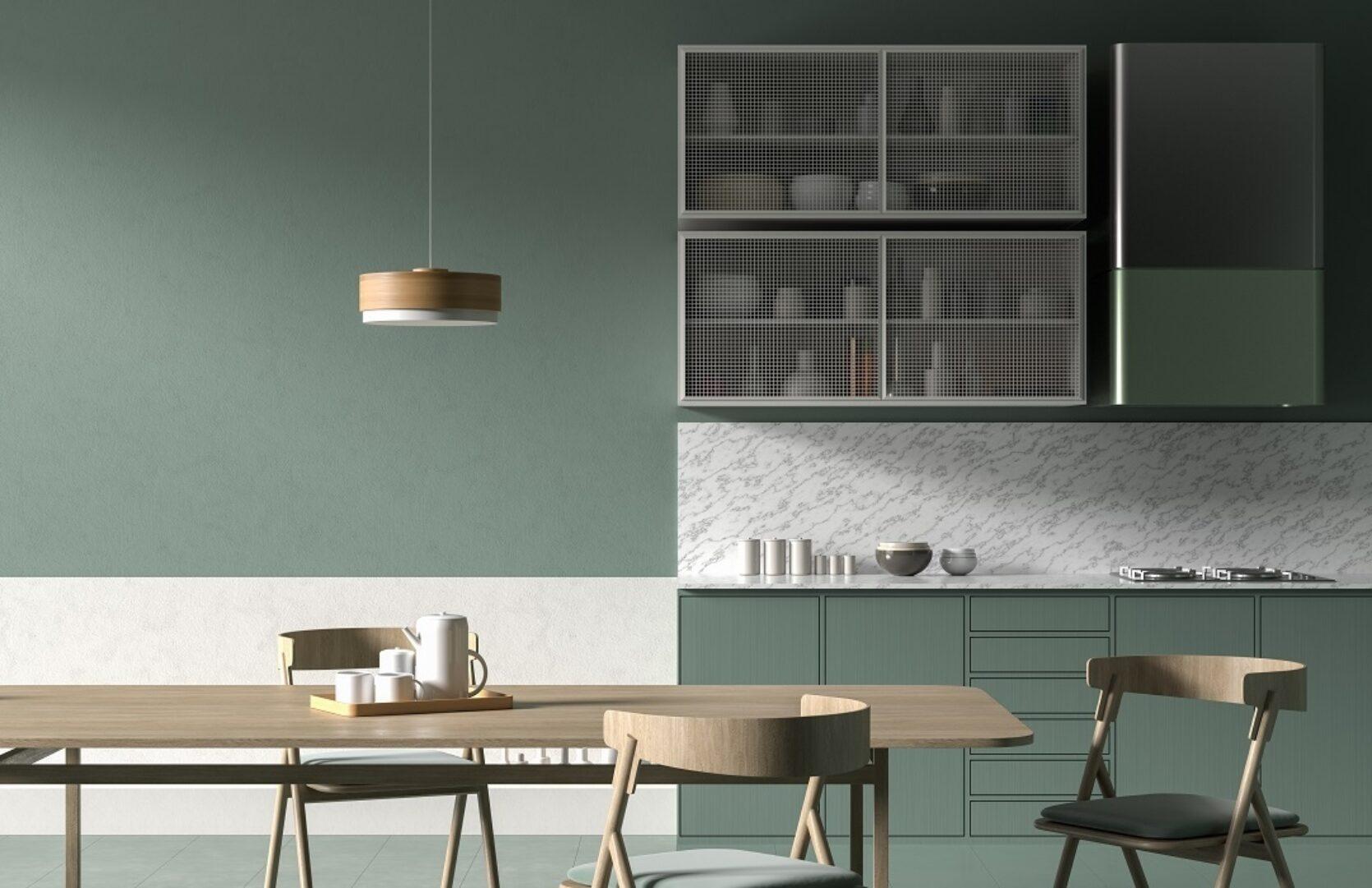 Kjøkken i grønne farger og moderne stil.