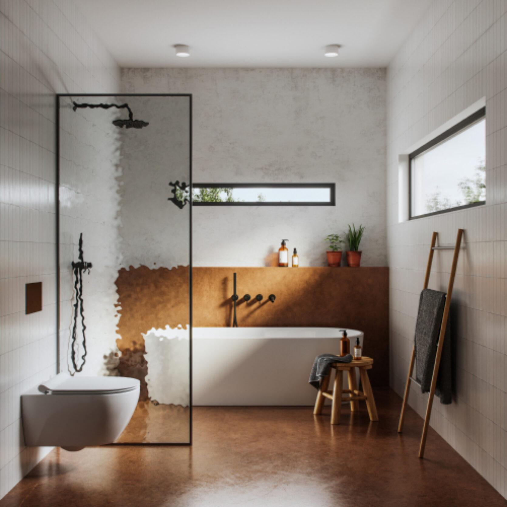 Bad med jordfarge og hvite vegger, moderne innredning med badekar.