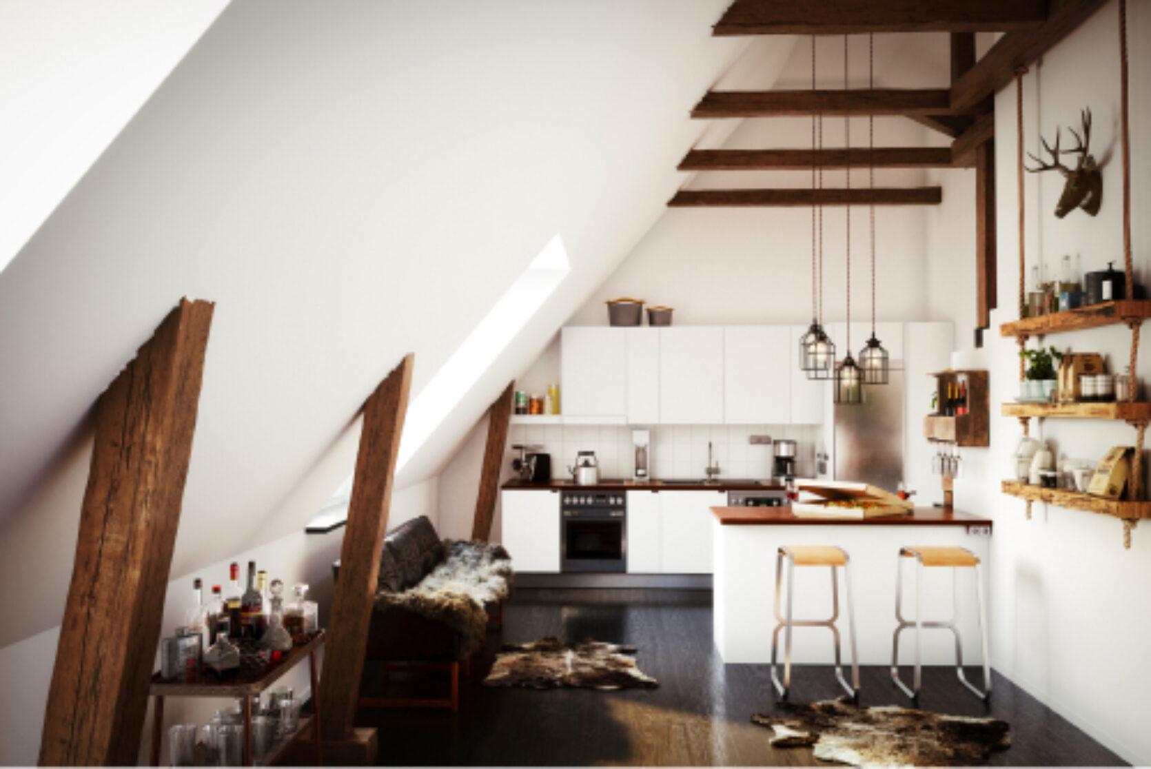 Lyst og moderne kjøkken på loft med synlige trebjelker og skråtak