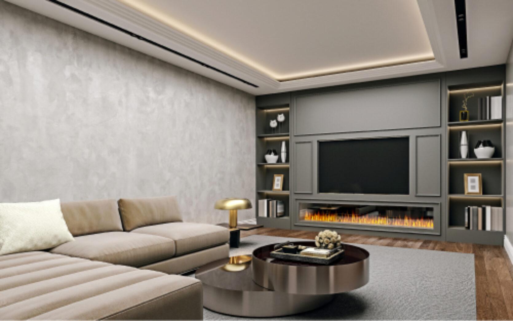 Innredet kjeller med tv-stue i stilfulle farger.