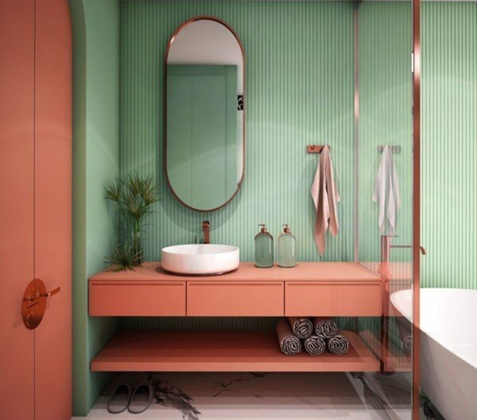 Bad med grønne vegger og vakre detaljer
