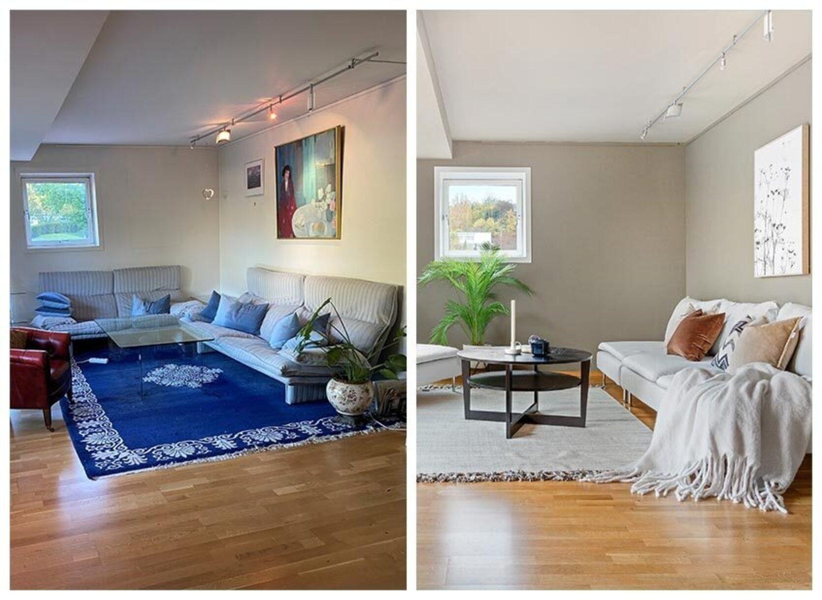 Før og etter av en stue. Riktige farger skaper riktig inntrykk.