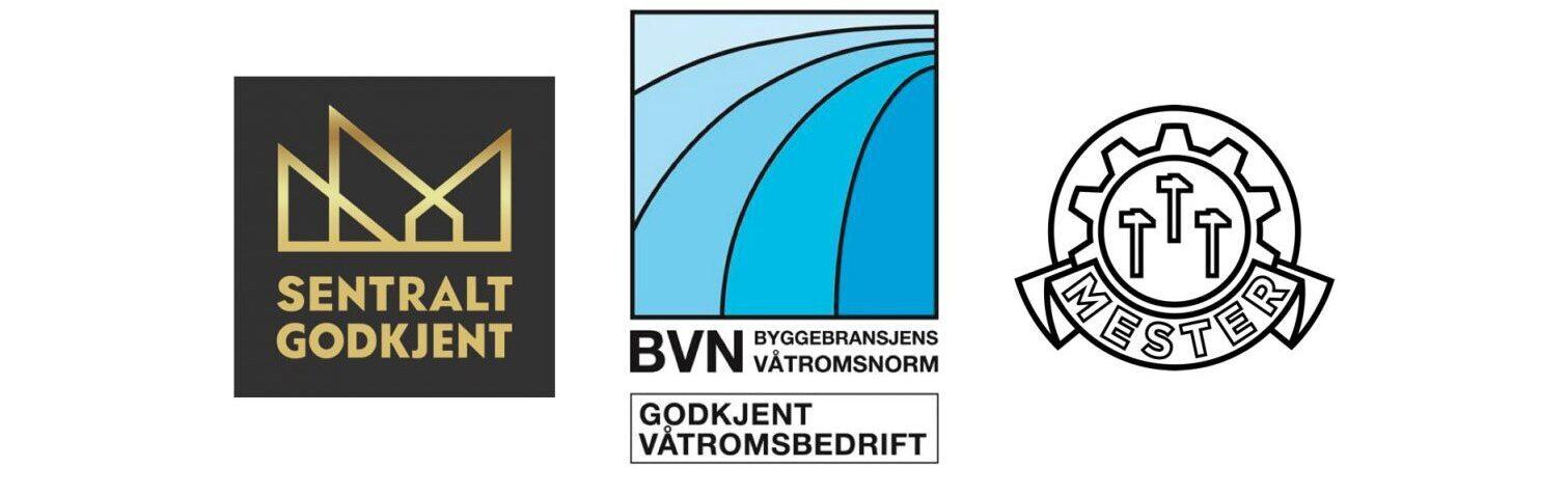Logoer til Sentral godkjenning, Byggebransjens våtromsnorm og Mesternemda